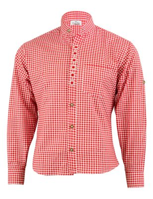 Traditional Bavarian Shirt For Lederhosen/Oktoberfest with Edelweiss embroidery,Color:Dark Blue/checkered – image 1