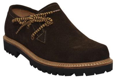 Bavarian Traditional Haferl Lederhosen Shoes cow Suede leather,color: Dark Brown – image 1