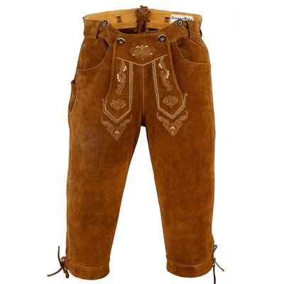 Knee Lenght Pants/ Breeches Made of Suede Leather With Suspenders, Color:Dark Brown – image 5