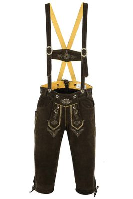 Knee Lenght Pants/ Breeches Made of Suede Leather With Suspenders, Color:Dark Brown – image 9
