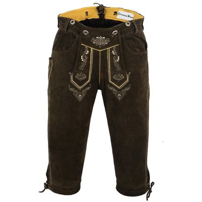 Knee Lenght Pants/ Breeches Made of Suede Leather With Suspenders, Color:Dark Brown – image 4
