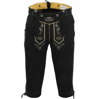 Knee Lenght Pants/ Breeches Made of Suede Leather With Suspenders, Color:Dark Brown – image 2