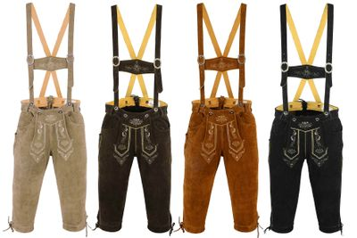 Knee Lenght Pants/ Breeches Made of Suede Leather With Suspenders, Color:Dark Brown – image 1