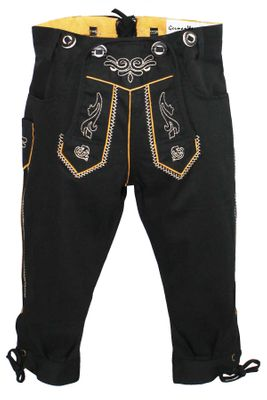 German Wear, Knee length bavarian Jeans Shorts and Suspenders for oktoberfest, colour:Black – image 1