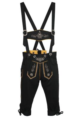 German Wear, Knee length bavarian Jeans Shorts and Suspenders for oktoberfest, colour:Black – image 2