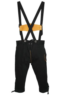 German Wear, Knee length bavarian Jeans Shorts and Suspenders for oktoberfest, colour:Black – image 4