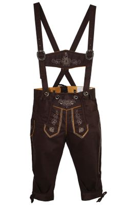 German Wear, Knee length bavarian Jeans Shorts and Suspenders for oktoberfest, colour: Dark brown – image 2