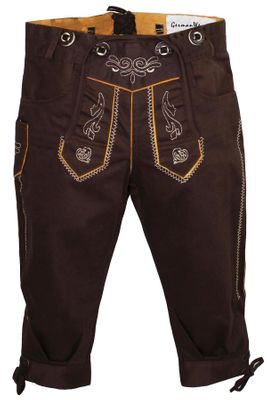 German Wear, Knee length bavarian Jeans Shorts and Suspenders for oktoberfest, colour: Dark brown – image 1