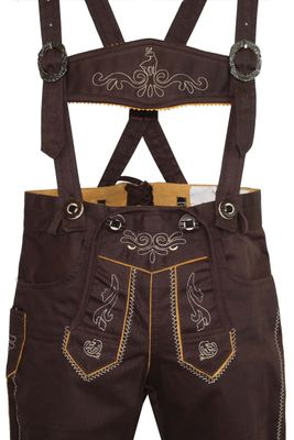 German Wear, Knee length bavarian Jeans Shorts and Suspenders for oktoberfest, colour: Dark brown – image 3
