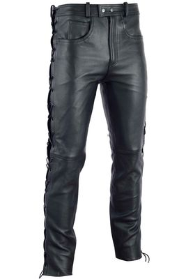 Leather trousers Biker jeans Aniline Leather sideways laced Black – image 2