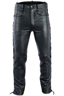 Leather trousers Biker jeans Aniline Leather sideways laced Black – image 1