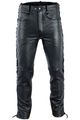 Leather trousers Biker jeans Aniline Leather sideways laced Black