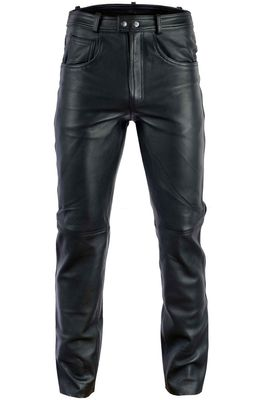 Leather trousers biker jeans Aniline Natural leather Black – image 1