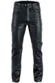Leather trousers biker jeans Aniline Natural leather Black