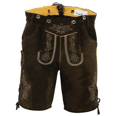 Bavarian Trachten Lederhose Shorts Goat Sued Suspenders Dark Brown – image 1