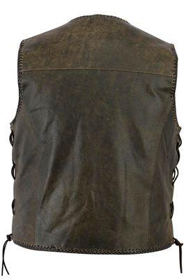 RadMasters, Leather Motorcycle Vest Leathervest Cracker Bikervest Brown – image 3