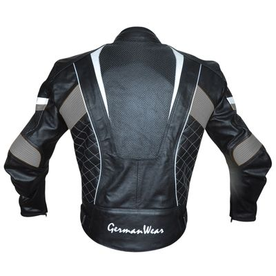Leather Motorcycle Cowhide Combi jacket black/yellow/white – image 3