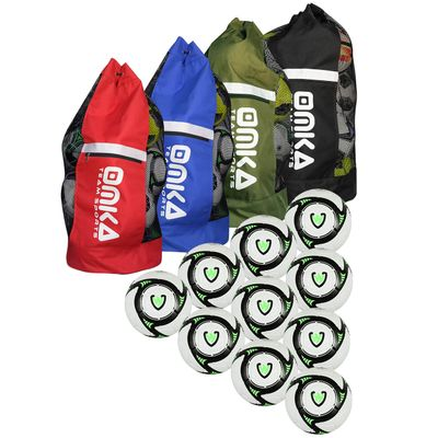 OMKA Football Rugby Handball ball bag travel bag Carry bag with shoulder strap for 10 balls – image 1