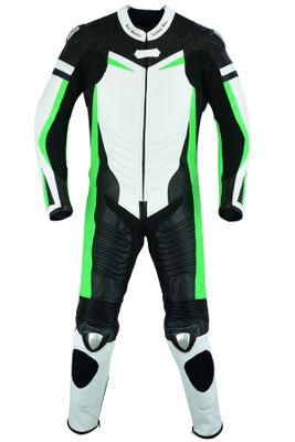 German Wear, Motorbike motorcycle leathers 1 one piece suit real Cowhide leather fluorescent green