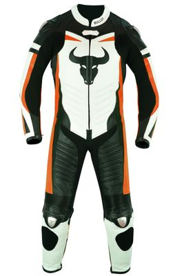 German Wear, Motorbike motorcycle leathers 1 one piece suit real Cowhide leather fluorescent orange