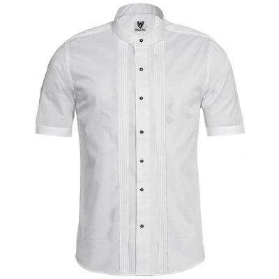 wholesale dealer 5b4c6 10ad8 Trachtenhemd Businesshemd 2x5 Biesen Stehkragen Hemd Halbarm Baumwolle
