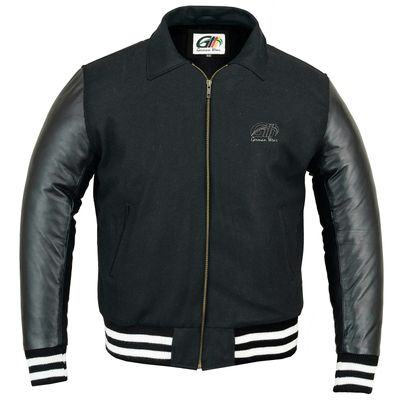 College Jacket with leather sleeves in black