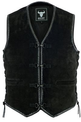 BULLDT motorcycle cowl suede vest suede leather biker vest motorcycle vest black
