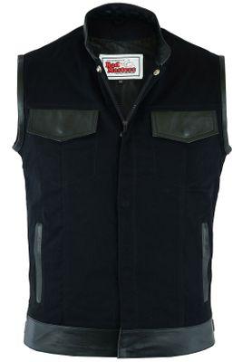 Denim Motorcycle Biker Cowl Vest Biker Vest Motorcycle Vest Stand Collar Black