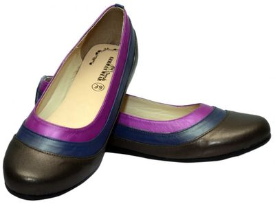Ballerinas made ​​of genuine leather in brown/blue/purple – image 2