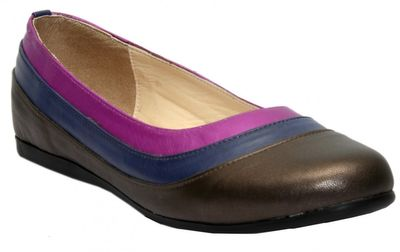 Ballerinas made of genuine leather in brown/blue/purple – image 1