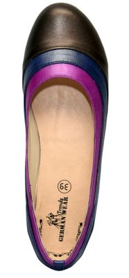 Ballerinas made ​​of genuine leather in brown/blue/purple – image 3