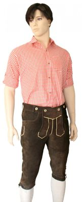 Lederhosen Knee Lenght Pants Breeches Made Of Suede Leather,Color: Dark brown – image 2