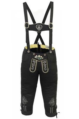 Knee length bavarian Jeans Lederhosen and Suspenders for oktoberfest, colour:Black – image 2