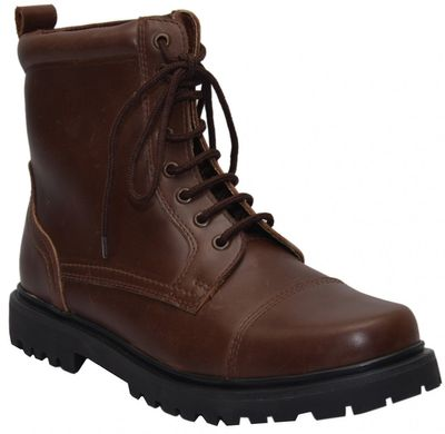 Boots Lace-up Genuine Cowhide Leather Shoes Dark Brown – image 1