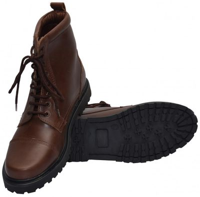 Boots Lace-up Genuine Cowhide Leather Shoes Dark Brown – image 2
