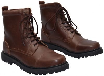 Boots Lace-up Genuine Cowhide Leather Shoes Dark Brown – image 3