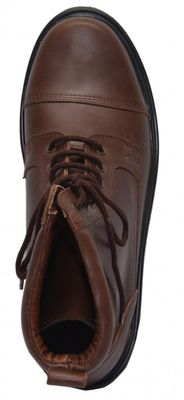 Boots Lace-up Genuine Cowhide Leather Shoes Dark Brown – image 4