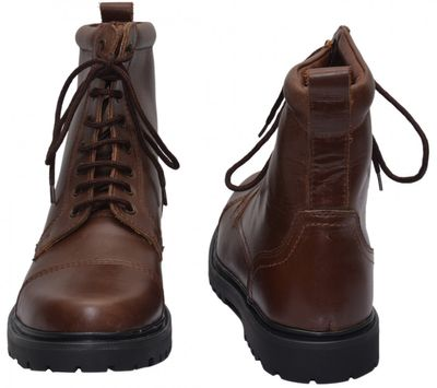 Boots Lace-up Genuine Cowhide Leather Shoes Dark Brown – image 6