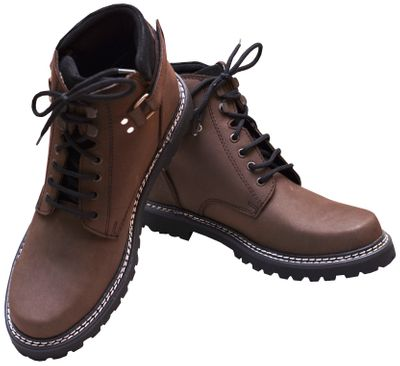 Boots Lace-up Genuine Cowhide Leather Shoes Dark Brown – image 5
