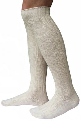 Long Traditional Socks, Knee Lengh Stockings, Braided-Look, Color:Cream
