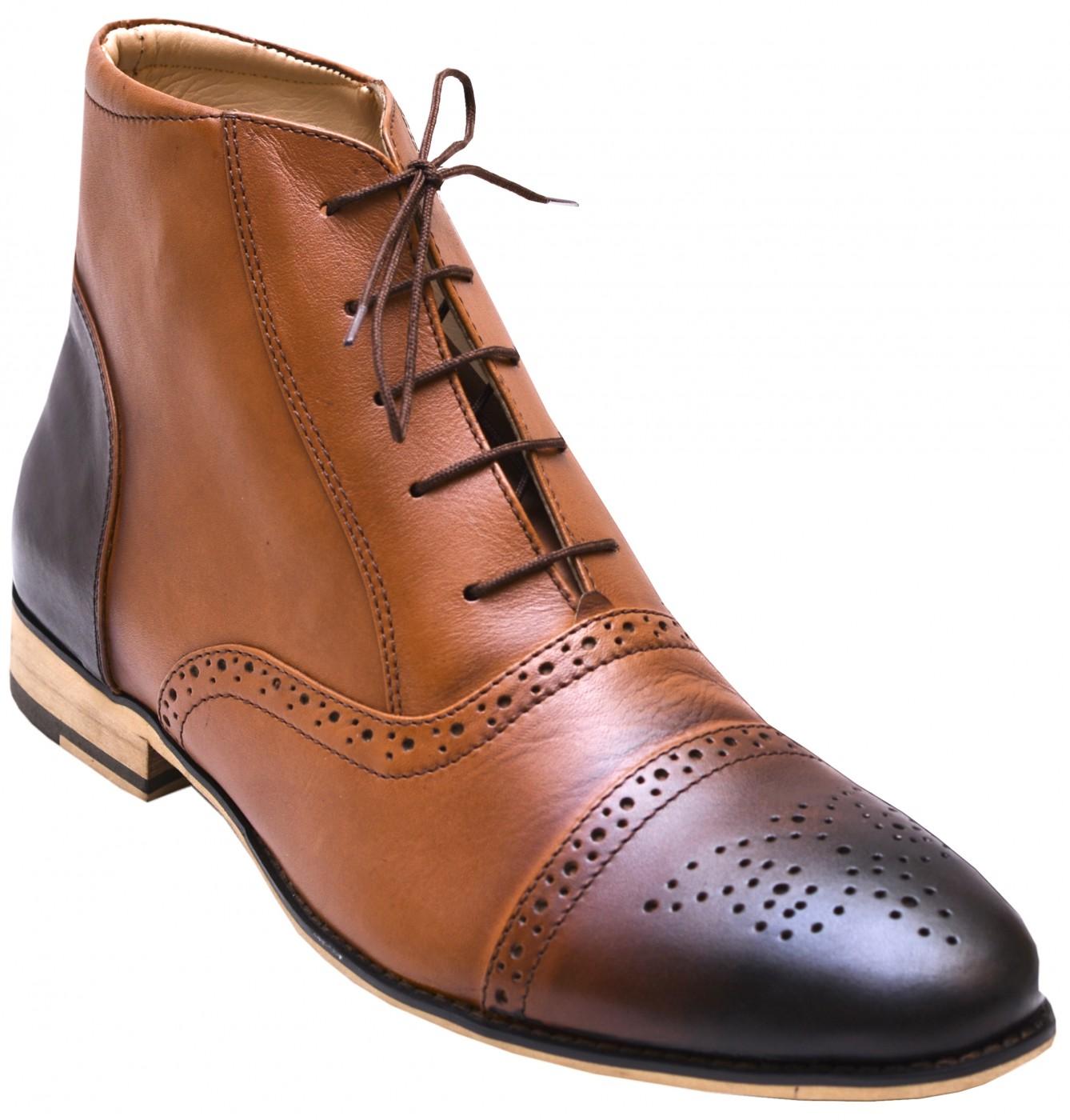 Business Schuhe Brogues Stiefelette Lederschuhe mit Ledersohle Schuhe braun