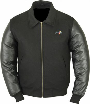 College Jacket with leather sleeves in black – image 1