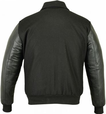 College Jacket with leather sleeves in black – image 3