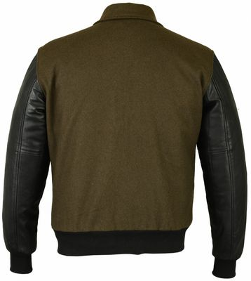 College Jacket with leather sleeves in Brown – image 2