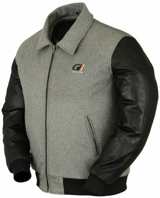 College Jacket with leather sleeves in Grey – image 3