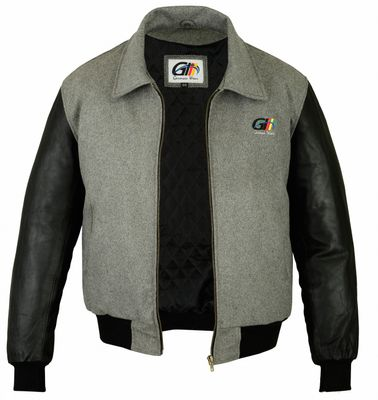 College Jacket leather sleeves Grey