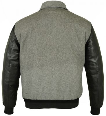 College Jacket with leather sleeves in Grey – image 2