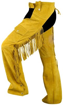 Fringed Western Leather Indian Chaps Pants ,Western Carnival Fasching, Color:Ochre – image 1