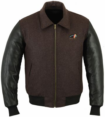 College Jacket with leather sleeves in Green – image 1