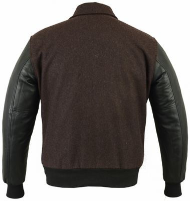 College Jacket with leather sleeves in Green – image 2